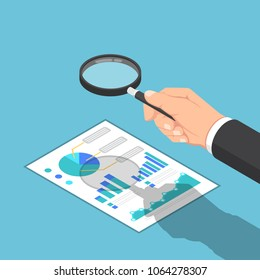 Flat 3d isometric businessman hand use magnifying glass to check reports. Business and finance data analysis concept.