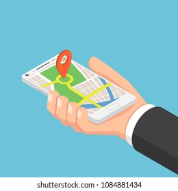 Flat 3d isometric businessman hand holding smartphone with pinpoint on the map application. Mobile gps map navigation concept.