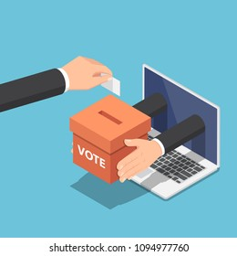 Flat 3d isometric businessman hand putting voting paper into ballot box that come out from laptop monitor. Online voting and election concept.