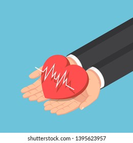 Flat 3d isometric businessman hand holding red heart with electrocardiography ECG or EKG line. Cardiology or health insurance concept.