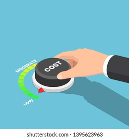 Flat 3d isometric businessman hand turn cost dial to low position. Cost reduction management concept.