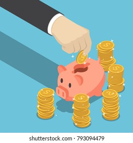 Flat 3d isometric businessman hand putting dollar coin into piggy bank. Financial and money saving concept.