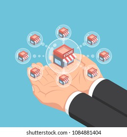 Flat 3d isometric businessman hands holding store network bubbles. Franchise business system concept.