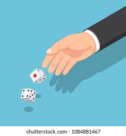 Flat 3d isometric businessman hands throwing the dice. Business risk and gambling concept.