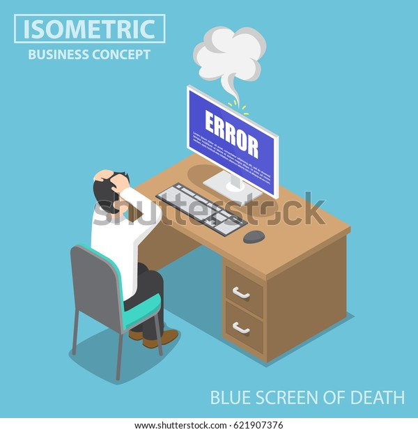 Flat 3d Isometric Businessman Having Problems Stock Vector
