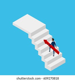 Flat 3D isometric. Businessman holding growing graph on stair to target and success. Stair step to success. Cartoon Vector Illustration.