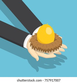 Flat 3d isometric businessman holding nest with golden egg. Investment and financial concept.