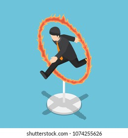 Flat 3d isometric businessman jumping through fire hoop. Business risk and challenge concept.