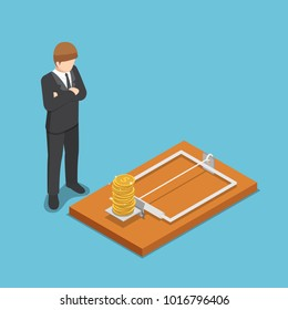 Flat 3d isometric businessman looking at dollar coin on mousetrap. Business and money trap concept.