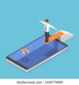Flat 3d isometric businessman on springboard ready to jump in the smartphone pool. Smartphone addiction concept.