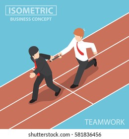 Flat 3d Isometric Businessman Passing Baton to His Colleague in Relay Race, Teamwork concept