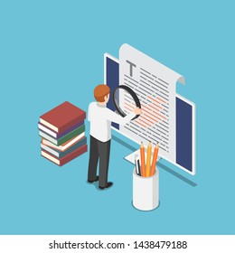 Flat 3d isometric businessman proofreading a document on pc monitor. proofread and content writing concept.