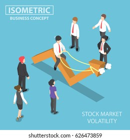 Flat 3d isometric businessman riding skittish stock market graph, investment risk and stock market volatility concept