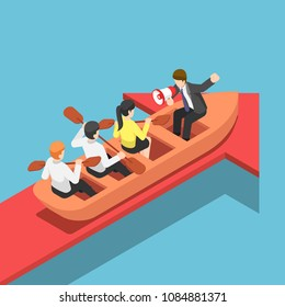 Flat 3d isometric businessman rowing team going forward on red arrow. Teamwork and business success concept.