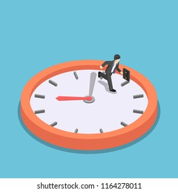 Flat 3d isometric businessman running on big clock face. Rush hour and dead line concept.