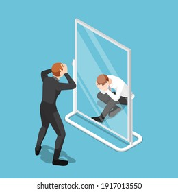 Flat 3d Isometric Businessman See Himself Failure in The Mirror. Business Failure and Low Self-Esteem Concept.