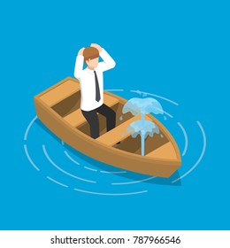 Flat 3d isometric businessman sitting in leaking boat. Business crisis concept.