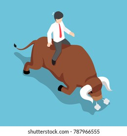 Flat 3d isometric businessman sitting on angry bull back. Bullish stock market and financial concept.
