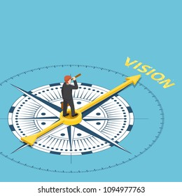 Flat 3d isometric businessman with spyglass telescope on compass that point to vision word. Business vision concept.