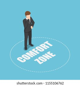 Flat 3d isometric businessman standing in comfort zone. Personal development and motivation concept.