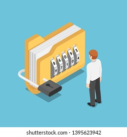 Flat 3d isometric businessman standing with folder with lock. Data security concept.