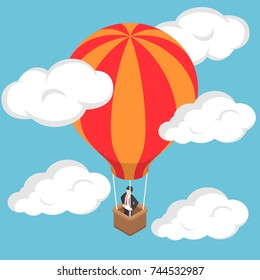 Flat 3d isometric businessman standing on hot air balloon in sky.