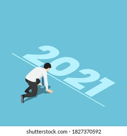 Flat 3d Isometric Businessman in Starting Position and Ready to New Year 2021. Start New Career and New Year Challenges Concept.