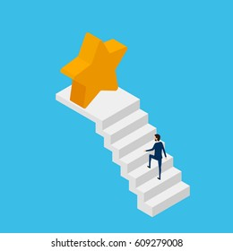 Flat 3D isometric. Businessman in suit walking on stair to victory star and success. Stair step to success. Cartoon Vector Illustration.
