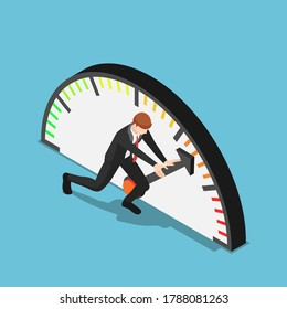 Flat 3d isometric businessman trying to push meter to the maximum position. Aspiration and business success concept.