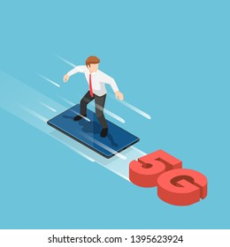 Flat 3d isometric businessman use smartphone to surfing on the 5G signal. 5G network wireless technology concept.