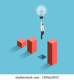 Flat 3d isometric businessman use lightbulb balloon to flying over chart gap. Business solution and creativity concept.