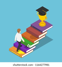 Flat 3d isometric businessman walking on book ladder to the trophy and graduation cap on the top. Business success and education concept.