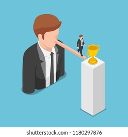 Flat 3d isometric businessman walking on long nose to the trophy. Liar and leadership concept.
