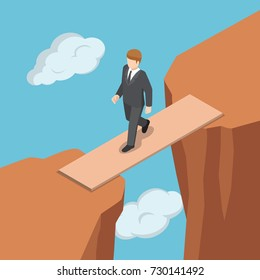 Flat 3d isometric businessman walking on wooden bridge across the gap between cliff. Business success and solution concept.