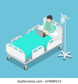 Flat 3d Isometric Businessman Working on Hospital Bed with Saline Solution On Patients Hand, Work Hard and Workaholic Concept