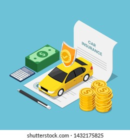 Flat 3d isometric car on insurance contract document with pen money and calculator. Car insurance concept.