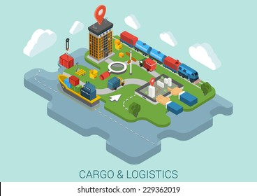 Flat 3d isometric cargo delivery logistics shipping business infographic concept vector. Container ship city port crane, road truck, train railroad cistern, mark point, hands on touch screen tablet.