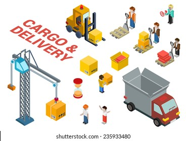 Flat 3d isometric cargo delivery shipment loading web infographic concept vector icon set template. Delivery van, crane, manager, foreman, box, crate, hourglass, loader, pallet and movers icons.