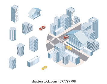 Flat 3d isometric city business infographic concept. Build your own infographic world collection. Skyscrapers, apartment, office, houses and streets with urban traffic movement of the car, constructor
