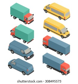 Flat 3d isometric city delivery transport icon set. Trucks and vans.