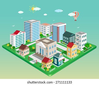 Flat 3d isometric city. Set of detailed colorful vector buildings and trees.