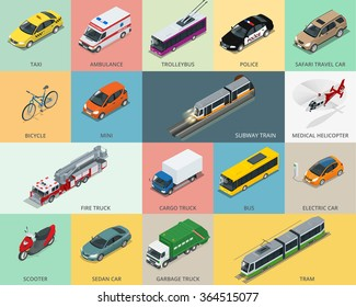 Flat 3d isometric city transport icon set. Taxi, Ambulance, trolleybus, Police, safari travel, Bicycle, Mini, Subway train, Fire-truck, cargo-truck, bus, Electric car, scooter, Sedan