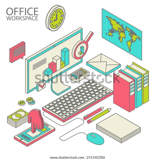 Flat 3d isometric computerized technology designer workspace infographic concept vector.