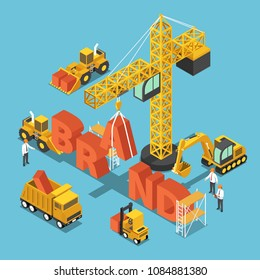 Flat 3d isometric construction site vehicles buildding BRAND word. Business brand building concept.