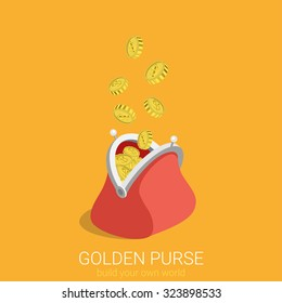 Flat 3d isometric creative golden purse web infographics concept. Gold coins raining to open wallet. Creative people collection.