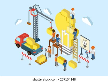 Flat 3d isometric creative idea planning, brainstorming web infographic concept vector. Crane, lorry, people making big light bulb lamp sign. Business, commerce, startup, innovation concept.