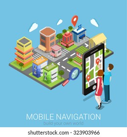 Flat 3d isometric creative mobile navigation web infographics concept. Couple touching big smartphone and city model map pin point. Creative people collection.