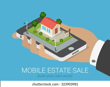 Flat 3d isometric creative mobile real estate sale web infographics concept. Big hand with smartphone on micro house street block. Creative people collection.
