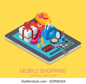 Flat 3d isometric creative mobile shopping web infographics consumerism concept. Beauty accessory fashion clothes goods on big tablet. Creative people collection.