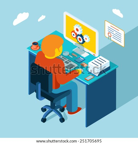 Flat 3d isometric design. Man sits in the workplace and working at a computer. Vector illustration. Work, table, freelance